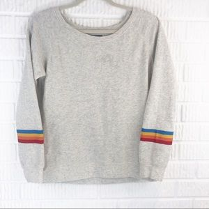 Oatmeal sweatshirt with rainbow sleeves
